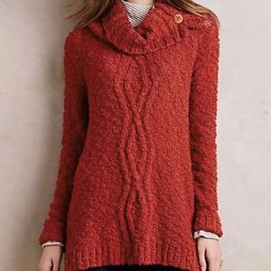 Anthropologie Moth Button Cowl Long Line Sweater